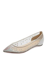 Christian Louboutin Follies Embellished Skimmer Red Sole Flat White