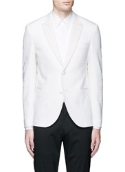 Neil Barrett Keffiyah Wave Camouflage Virgin Wool Tuxedo Blazer White