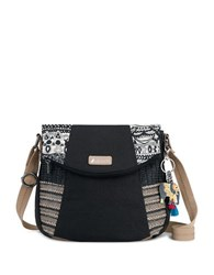 Sakroots Artist Circle Foldover Crossbody Bag Black White