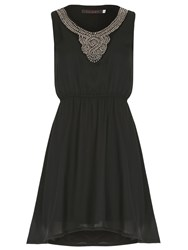 Tenki Chiffon Stud Embellished Party Dress Black