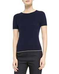 The Row Cashmere Short Sleeve Sweater Navy