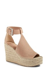 Marc Fisher Women's Ltd Annie Perforated Espadrille Platform Wedge Blush Suede