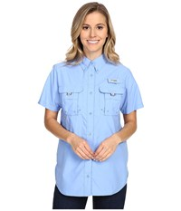 Columbia Bahama S S Shirt White Cap Women's Short Sleeve Button Up Blue