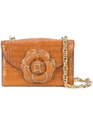 Oscar De La Renta Floral Shoulder Bag Brown
