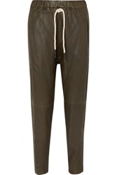 Bassike Net Sustain Leather Track Pants Army Green