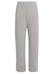 Le Kasha India Wide Leg Cashmere Cropped Trousers Light Grey