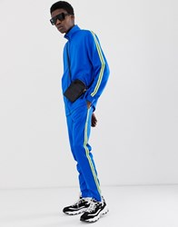 Fairplay Kiran Track Jogger With Neon Side Stripe In Blue