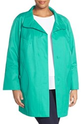 Plus Size Women's Gallery Button Detail A Line Raincoat