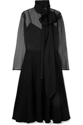 Valentino Pussy Bow Silk Organza And Satin Gown Black