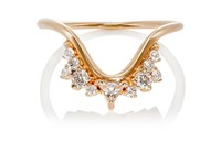 Fernando Jorge Women's Diamond Clear Topaz And Rose Gold Fusion Wave Small Ring No Color