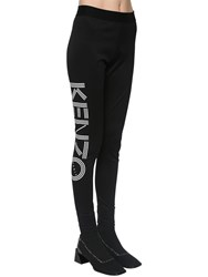 Kenzo Logo Print Stretch Cotton Leggings Black