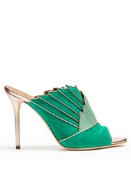 Malone Souliers Donna Panelled Backless Sandals Green Gold