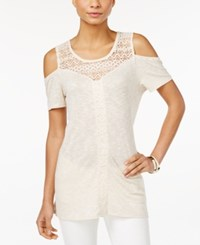 Styleandco. Style And Co. Cold Shoulder Lace Yoke Top Only At Macy's Av Natural
