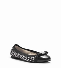 Michael Kors Dixie Houndstooth Hair Calf Ballet Flat Black White