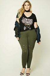 Forever 21 Plus Size Distressed Sweatpants Olive