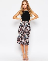 Asos Midi Sundress With Pleated Skirt In Floral Print Multi