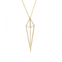 House Of Waris Lantern 18Kt Yellow Gold Necklace With White Diamonds