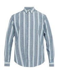 Schnayderman's Striped Cotton Oxford Shirt Blue Multi