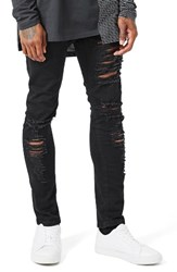 Topman Men's Aaa Collection Ripped Stretch Skinny Jeans Black