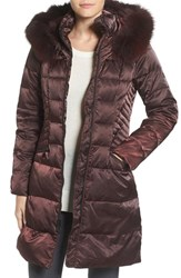 1 Madison Women's Down And Feather Fill Coat With Genuine Fox Fur Pinot