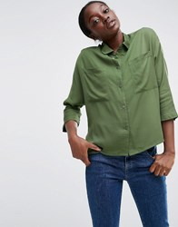 Asos Batwing Slouchy Shirt With Pockets Khaki Green