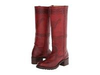 Frye Campus Stitching Horse Burnt Red Montana Stone Wash Cowboy Boots