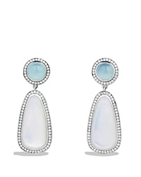 David Yurman Cerise Double Drop Earrings With Moon Quartz Milky Aquamarine And Diamonds Silver White
