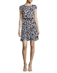 Eliza J Petite Patterned Fit And Flare Navy Ivory