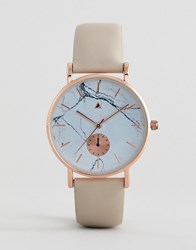 Asos Design Curve Watch With Leather Strap And Marble Print Face Tan