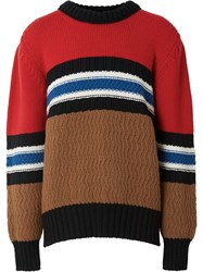 Burberry Chunky Knitted Stripe Jumper Red