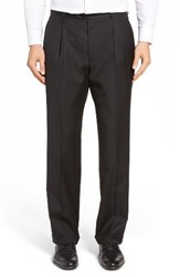 Hickey Freeman Men's Beacon Pleated Solid Wool Trousers
