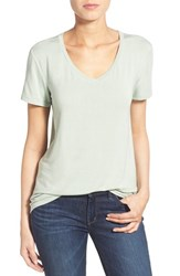 Women's Halogen Modal Jersey V Neck Tee Green Frozen