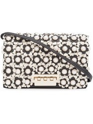 Zac Posen Flower Embellished Crossbody Bag Black