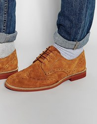 Red Tape Brogues In Tan Suede