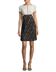 Nue By Shani Short Sleeve Lace Dress Black Ivory