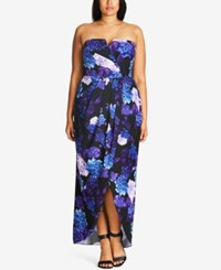 City Chic Plus Size Floral Print Convertible Maxi Dress Black