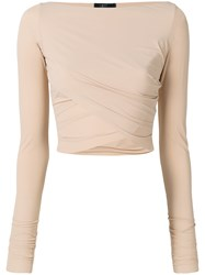 Lost And Found Ria Dunn Cropped Wrap Blouse Nude And Neutrals