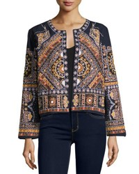 Neiman Marcus Open Front Embroidered Jacket Blue