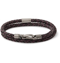 Tod's Woven Leather Wrap Bracelet Purple