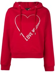 Love Moschino Heart Logo Hoodie Red