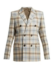 Connolly Double Breasted Checked Wool Blend Blazer Beige Multi