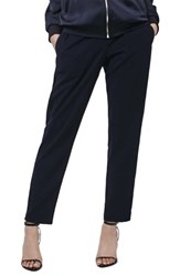 Topshop Contrast Piped Ankle Zip Jogger Pants Navy Blue