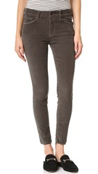 Mother Looker Ankle Fray Corduroy Pants Charcoal
