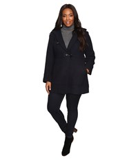 Jessica Simpson Plus Size Braided Wool Duffle Coat Navy Women's Coat