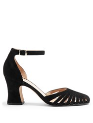 Valentino Cut Out Suede Pumps Black