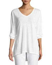 Eileen Fisher Organic Linen Jersey V Neck Top White