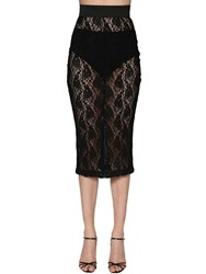 Dolce And Gabbana Stretch Lace Pencil Skirt Black