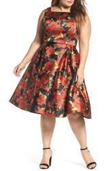 Mac Duggal Plus Size Women's Floral Fit And Flare Dress Black Multi