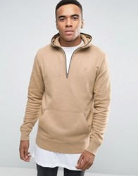 Jack And Jones Hoodie With 3 4 Zip Hood Tiger Eye Brown