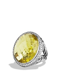 David Yurman Dy Signature Oval Ring With Lemon Citrine And Diamonds